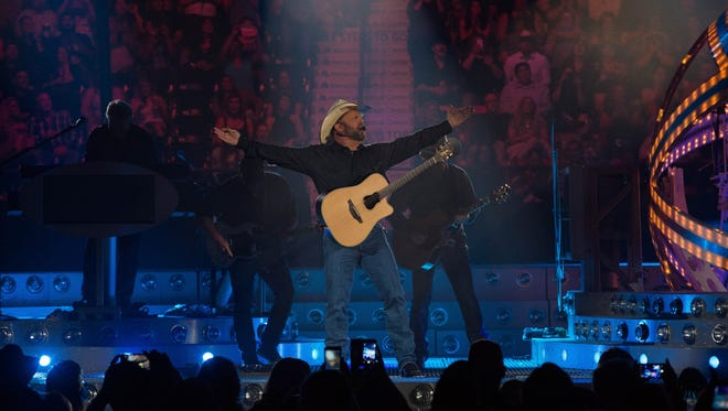 Garth Brooks playing the first of five planned shows in Las Cruces, Friday, April 7, 2017, at the Pan American Center.