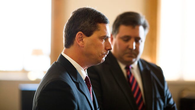 Thu., Oct. 19, 2017: Jeffrey Higgins of Milford is sentenced, as his lawyer, Alex Triantafilou, who is also the chairman of the Hamilton County Republican Party, stands by his side. Higgins was the driver of a car that crashed on the golf course at the Wyoming Golf Club, killing Rev. Christopher Coleman, who was a passenger. Higgins' sister, Paula Coleman Black, said the family was not in agreement with the plea deal, and that the case was being swept under the rug because of Higgins' political connections.