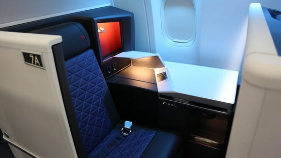 The Delta One 'suites' cabin as seen onboard Delta's first Boeing 777 to be retrofitted with the airline's latest cabin interior. Delta showed off the interior in Atlanta on June 15, 2018.