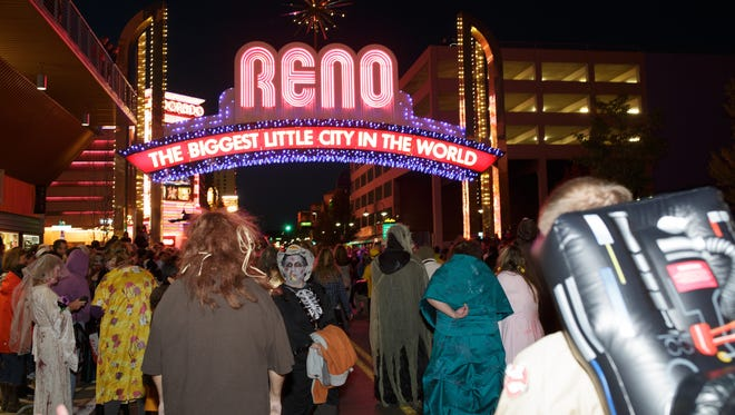 A file photo of the 2014 Zombie Crawl in downtown Reno.
