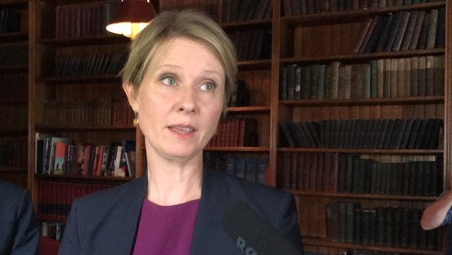 Democratic gubernatorial candidate Cynthia Nixon talked to reporters in Albany on Monday, June 4, 2018, about school funding.