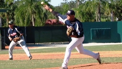 Jupiter Glory Days pitcher Dante Bichette pitches during recent game action. The team staged a comeback to win another Over-45 Men's World Series.
