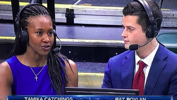Pat Boylan and Tamika Catchings broadcast during a game.