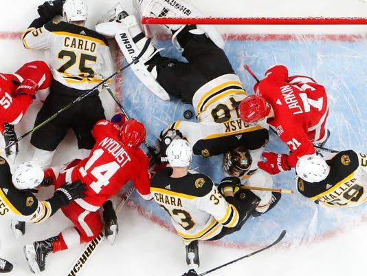 Boston Bruins goaltender Tuukka Rask (40) stops the puck during the team s  NHL hockey 6baa540bd