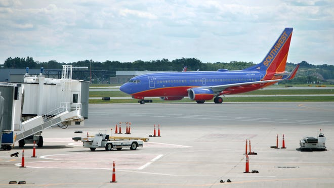 A Southwest Airlines plane arrives at the Greater Rochester International Airport.