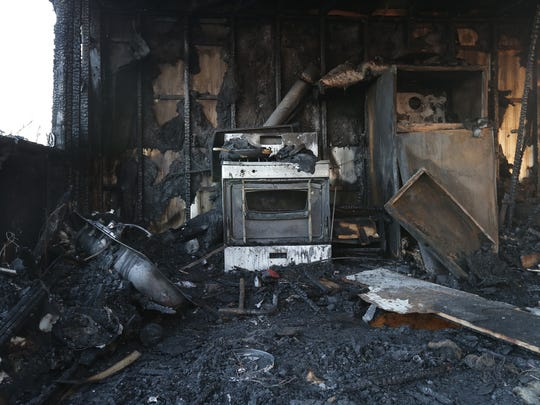A mobile home in Northeast El Paso was left charred and gutted after catching fire on Sunday.