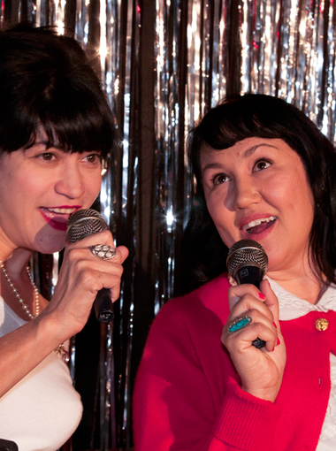 "Margie (Marcella Grassa) and Peggy (Dilcia Yanez, right) sing in a scene from Space 55's musical ""Blue Galaxy."""