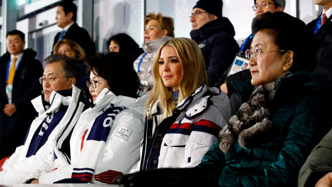 From left, South Korean President Moon Jae-in, first lady Kim Jung-sook, Ivanka Trump and Chinese Vice Premier Liu Yandong attend the closing ceremony of the Pyeongchang 2018 Winter Olympic Games on Feb. 25, 2018.