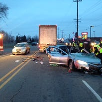 Scene of three-car crash on West Columbia Avenue east of Helmer Road on Thursday morning.