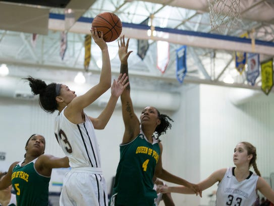 Rutgers' Leilani Correa goes up with shot against Queen