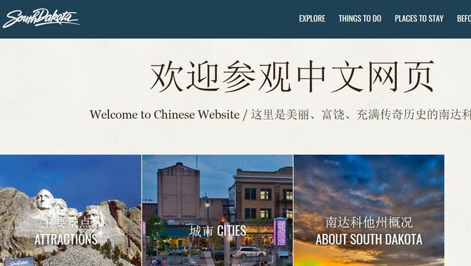 A screen capture of the South Dakota Department of Tourism's website with a Chinese translation.