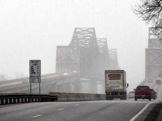 The northbound twin bridge, at left, where a driver parked and jumped on New Year's Eve. The search for the missing driver continued on the first day of 2017.