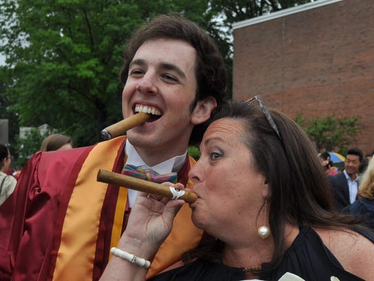 Teddy Gerrity and mom, Christine, at his Iona Prep graduation last spring. This will be Teddy's first Thanksgiving returning home from college.
