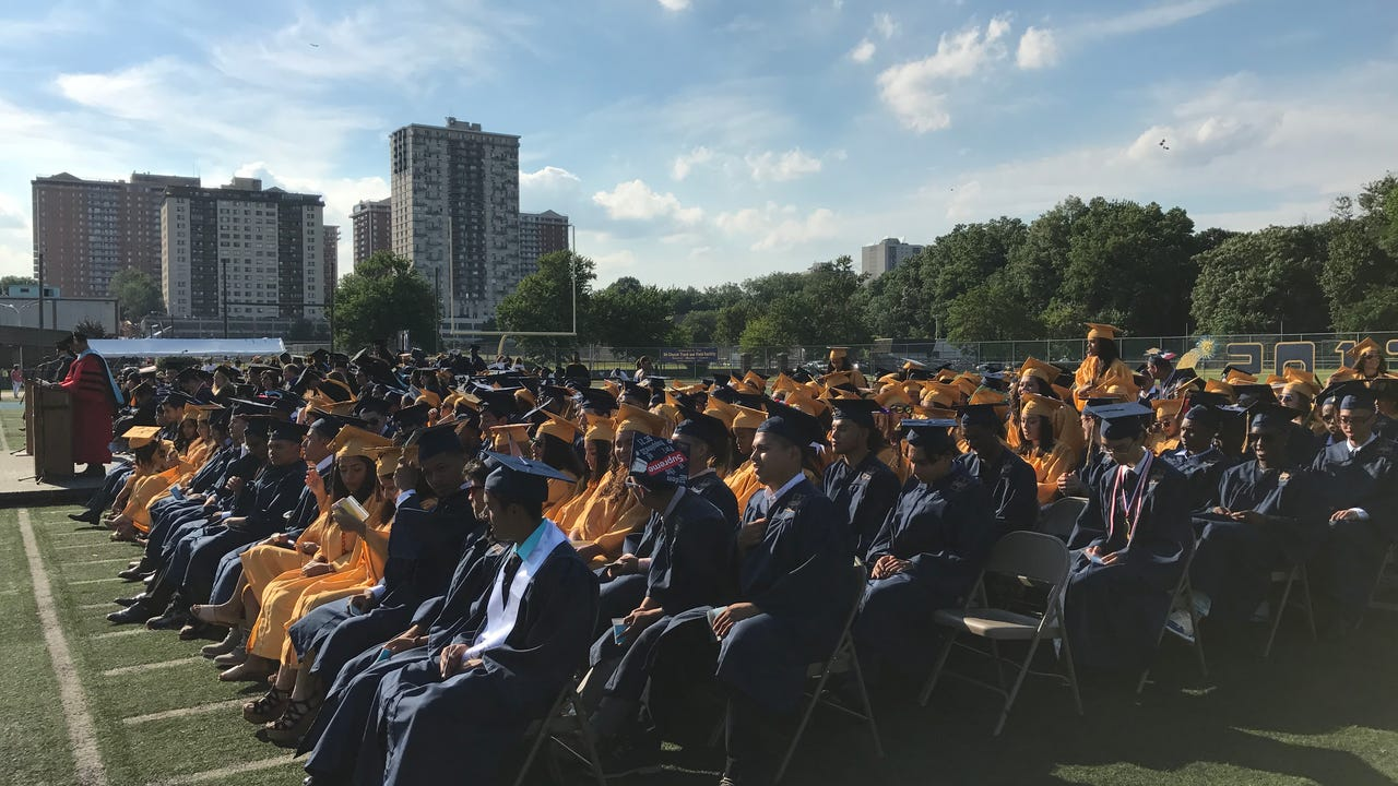 The city high school's 122nd graduating class graduated on the Thomas Delattore Field on Thursday evening.