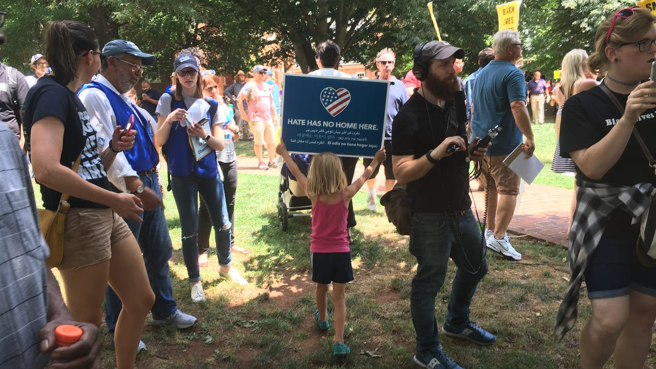 Protesters opposed to the Ku Klux Klan rally that was planned in Charlottesville on July 8, 2017, came out in the hundreds to confront Klan members. There was heavy police presence