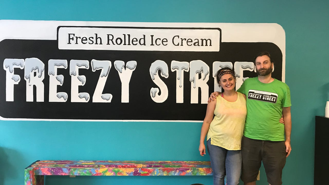 "Adam Enterkin and Frances La'Magna  were inspired to open a rolled ice cream shop in New Orleans while visiting La'Magna's sister in New York City. Check out the process behind ""rolled ice cream,"" available at Freezy Street in New Orleans."