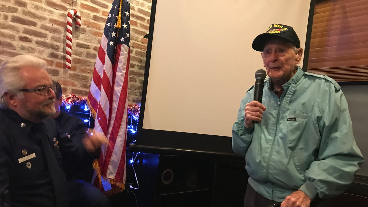 Beloved World War II veteran and Boonton resident Stephen Bolcar recently spoke to a standing-room only meeting of the U.S. Coast Guard auxiliary at Lincoln Park Airport. IPHONE VIDEO BY WILLIAM WESTHOVEN DEC. 11, 2017