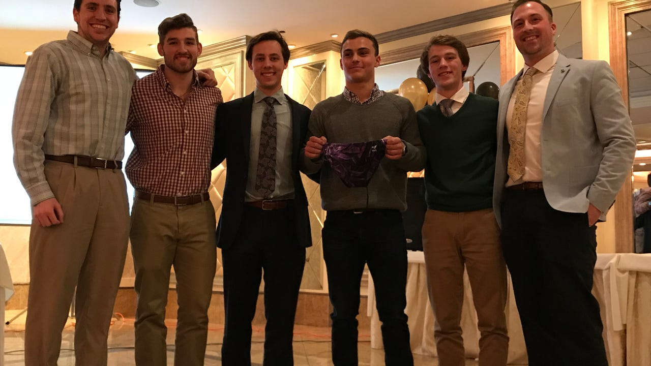 The River Dell/Westwood senior was honored with the swimming program's prestigious 'Purple Speedo' on Wednesday, March 15.