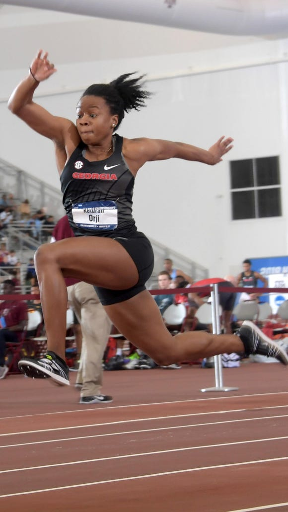 Georgia senior Keturah Orji, a Mount Olive alumna, wins the women's triple jump in a meet record 46-10 (14.27m) during the NCAA Indoor Track and Field Championships at the McFerrin Athletic Center. Mandatory Credit: Kirby Lee-USA TODAY Sports