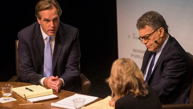 Mike McFadden (left) debated Sen. Al Franken, D-Minn., in the final debate in the race for U.S. Senate candidates at the Fitzgerald Theater in St. Paul on Sunday. Kerri Miller was one  of the MPR News moderators the debate.