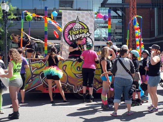 Participants in the Michigan Pride Parade get their floats ready Saturday, August 23, 2014.