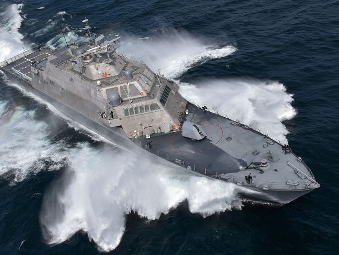 The future USS Detroit, or LCS-7, is seen during its