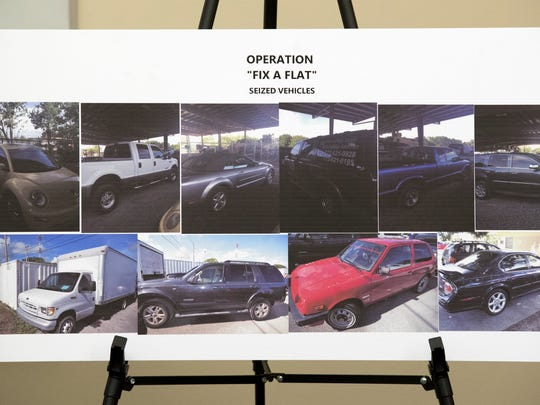 """These vehicles were seized in 2015 in """"Operation Fix-A-Flat"""""""