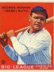 """Burlington police released this photograph of a """"similar"""" baseball card of Babe Ruth that was reported stolen from a North Prospect Street home last week."""