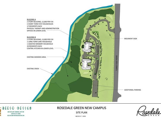 The site plan for the new nursing facility in Elsmere, being built by Rosedale Green.