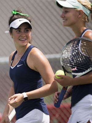 FILE – Claire Koscielski (left), and her number one doubles partner from Cathedral High School, Meg Coleman, won the individual doubles title on Saturday.