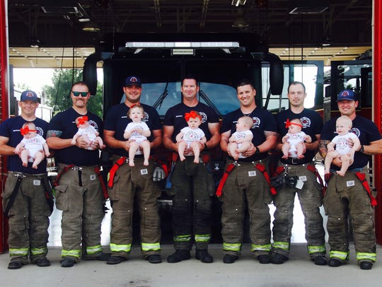 Seven men at the Glenpool Fire Department in Oklahoma