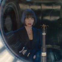 Marvel's motion picture Ant-Man  L to R: Hope Van Dyne (Evangeline Lilly), the Yellowjacket suit, and Hank Pym (Michael Douglas)  Credit: Marvel  © Marvel 2015 [Via MerlinFTP Drop]