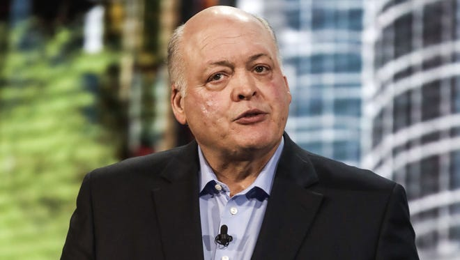 Ford Motor Company President and CEO Jim Hackett speaks during the Ford presentation at the 2018 North American International Auto Show in Detroit January 14, 2018.
