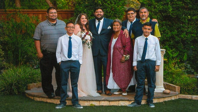 Marty and Sharon celebrate their wedding with brothers Marcus and Matthew, nephews Dillon and Jalen and parents Rachel and David.