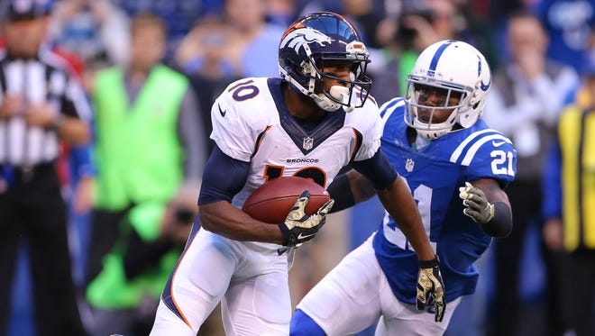 The Colts' Vontae Davis pursued Denver Broncos wide receiver Emmanuel Sanders in their Nov. 8 game. His next challenge: containing Atlanta's Julio Jones.