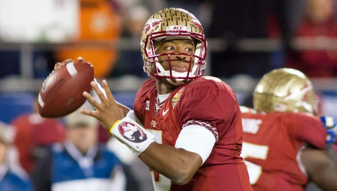 Florida State quarterback Jameis Winston (5) looks to pass during the second quarter of the ACC Championship against Duke on Dec. 7 at Bank of America Stadium.