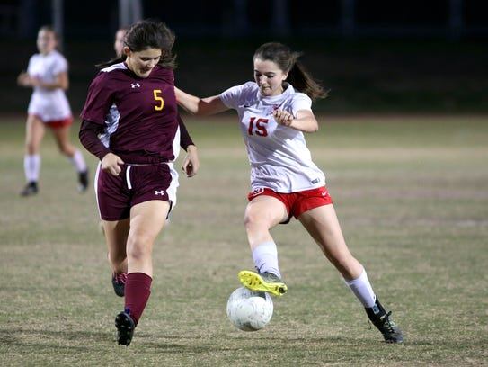 Palm Desert's Malia Falk controls the ball during the