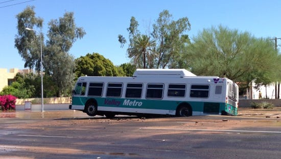 ?A bus got stuck in a Tempe sinkhole after a water main broke Wednesday morning near Apache Boulevard and McClintock Drive, according to officials.