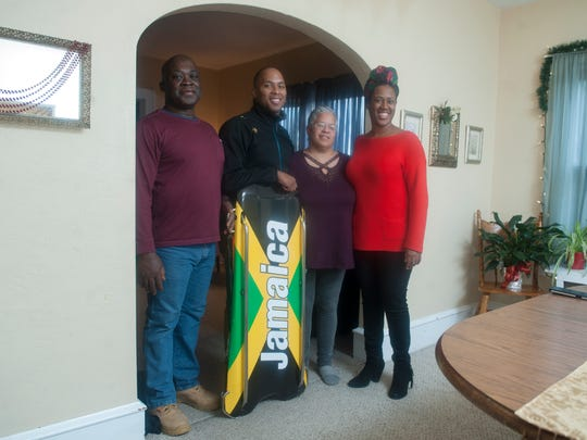 Vineland native Anthony Watson, 2nd from left, who will compete in the Winter Olympics in South Korea for Jamaica in the skeleton, stands with (from left) his father Basil Watson, mother Gloria Watson, and sister Amaris Watson.