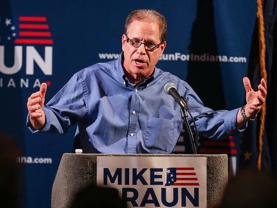 Republican Senate candidate Mike Braun speaks during his primary election night party at Moontown Brewing Co. in Whitestown.