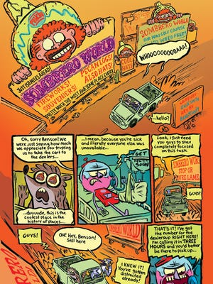 Here's the first page of 'Sombrero World,' Zack Smith's story in the comic 'Regular Show #3.'