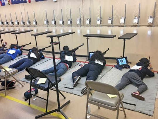 The West Oso shooters compete with sporter air rifles,