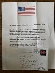 An anti-Muslim letter received by the Islamic Society of Vermont in early December.
