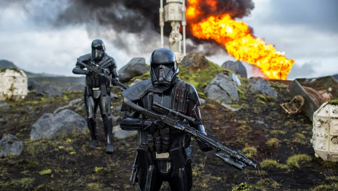 Imperial Death Troopers lay waste to a moisture farm in 'Rogue One: A Star Wars Story.'