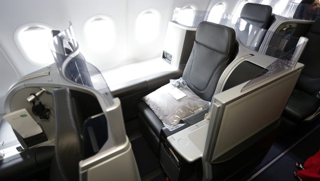 """JetBlue's """"Mint"""" lie-flat seats  are seen in this file photo from June 2014."""