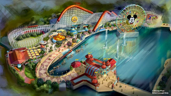 "Summer 2018 will bring a transformed land when Pixar Pier opens for guests to experience at Disney California Adventure park, featuring the new Incredicoaster inspired by Disney•Pixar's ""The Incredibles."" This artist concept illustrates the four new neighborhoods that will represent Pixar stories and the newly themed attractions that will be found throughout the permanent land of Pixar Pier."