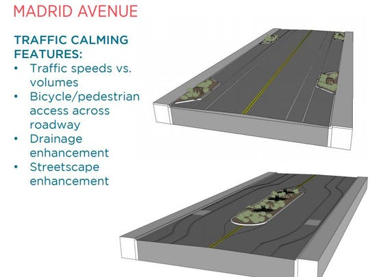 The Apodaca Blueprint includes options for traffic calming on Madrid Avenue.