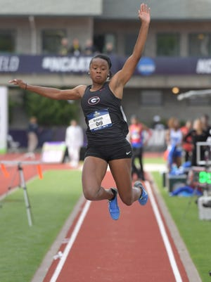 Georgia junior Keturah Orji, a Mount Olive alumna, places second in the women's long jump at a personal-best 22-0 1/2 (6.71m) during the NCAA Track and Field Championships at Hayward Field.