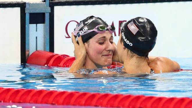 Missy Franklin (USA) and Maya Dirado (USA) after the women's 200m backstroke semifinal in the Rio 2016 Summer Olympic Games at Olympic Aquatics Stadium.