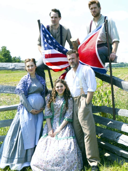 "Ben Davis, standing center, stars in Totem Pole Playhouse's production of the Civil War Musical, ""Shenandoah,"" along with female performers Jennifer Lorae, left, and Emily Ashton Meredith; and male performers Bryant Martin, left, and Jonathan Cable."